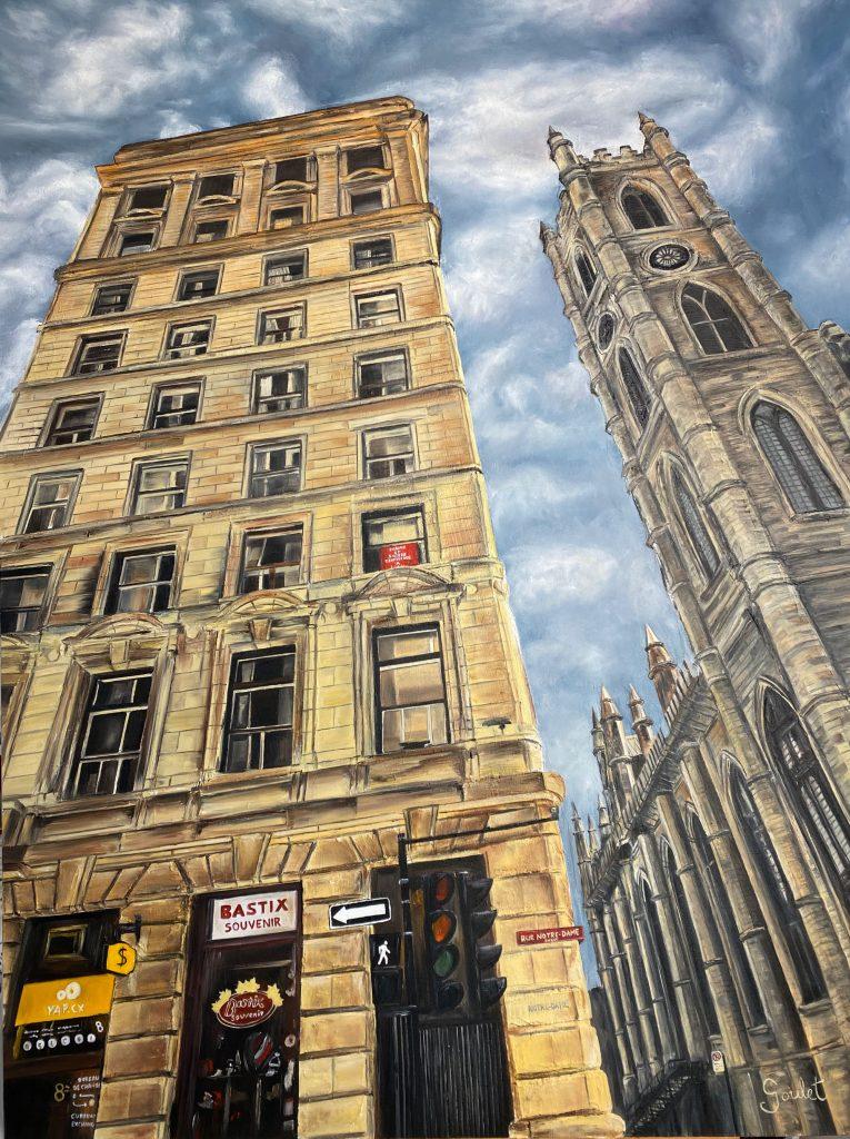 Édifice Duluth et Cathédrale Notre-Dame#1, Huile sur toile Galerie Format 30x40 pouces -VENDUE- Collection privée