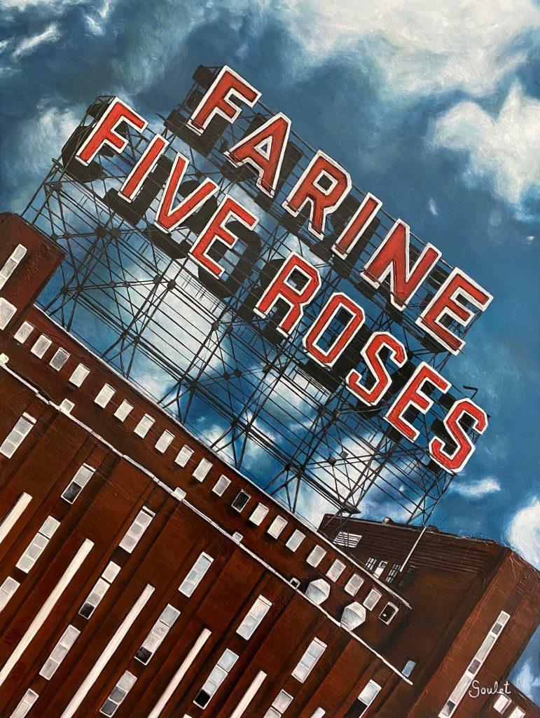Farine Five Roses #1, Huile sur toile Galerie Format 40x30 pouces -VENDUE- Collection Galerie Delort-Sensemat