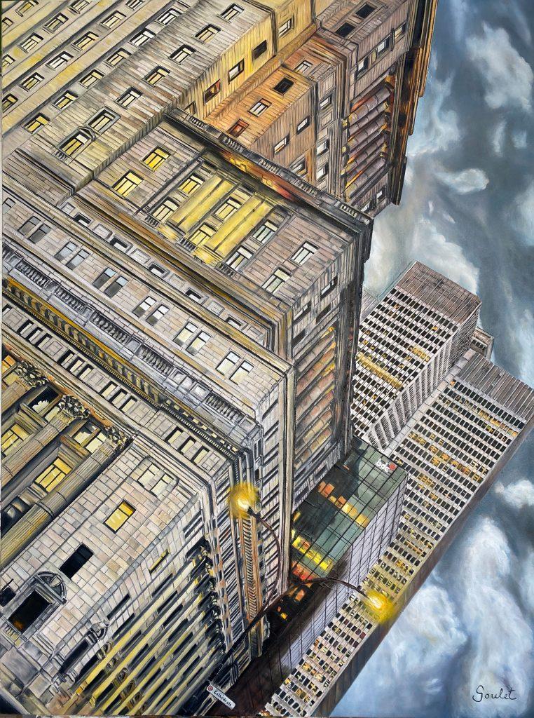Édifice SunLife, 5-PVM, 1-PVM#2, Huile sur toile Galerie Format 30x40 pouces -VENDUE-