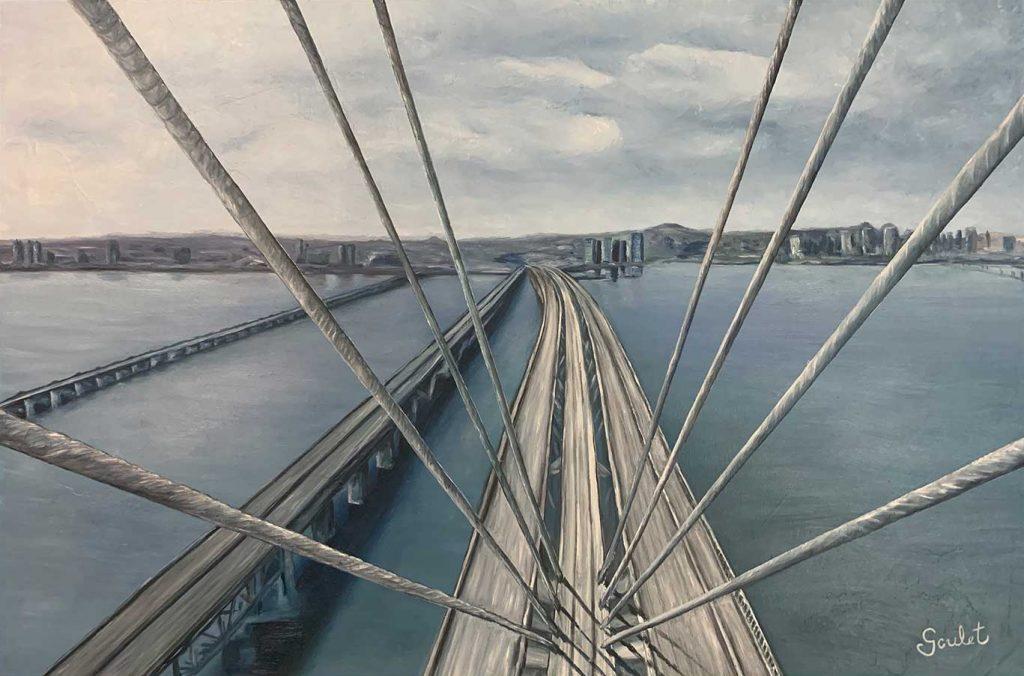 Pont Samuel de Champlain#3, Huile sur toile Galerie Format 24x36 pouces -VENDUE- Collection privée
