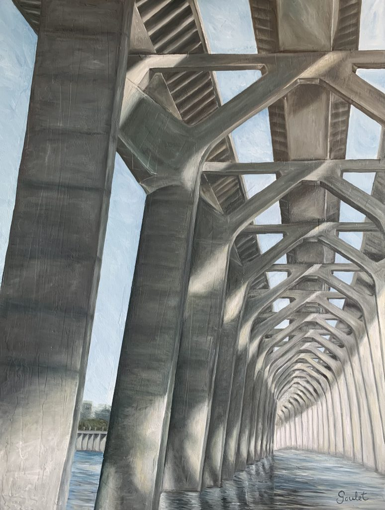 Pont Samuel de Champlain#2, Huile sur toile Galerie Format 30x40 pouces -VENDUE- Collection privée