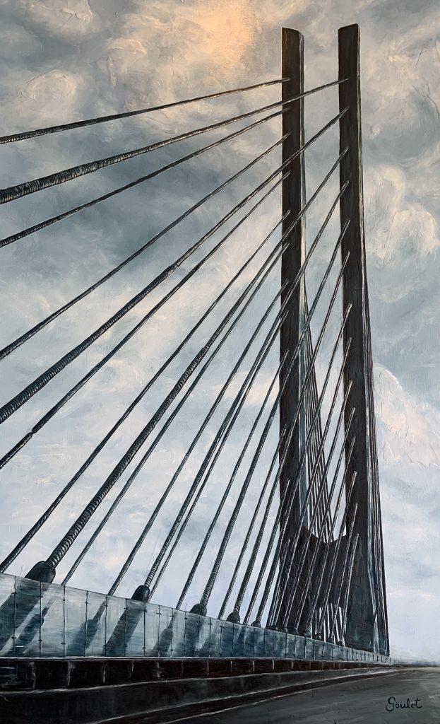 Pont Samuel de Champlain #5, Huile sur toile Galerie Format 30x48 pouces- -VENDUE- COLLECTION PRIVÉE