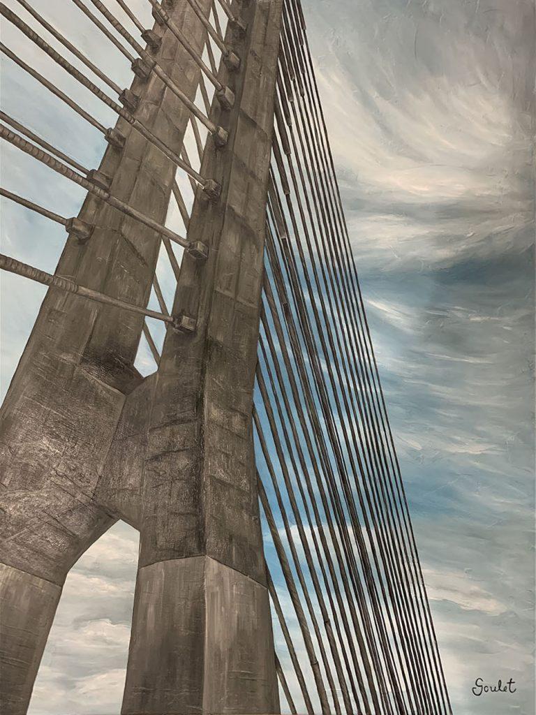Pont Samuel de Champlain #4, Huile sur toile Galerie Format 30x40 pouces -VENDUE- Collection privée